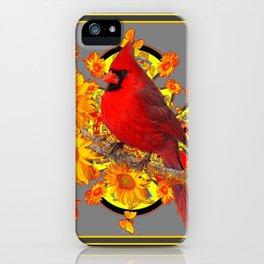 RED CARDINAL SUNFLOWERS ON GREY BLACK ART iPhone Case