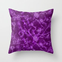 Flower Pattern (Purple version) Throw Pillow