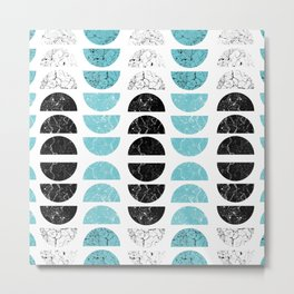 Marble Half-Moons in Tiffany Blue Metal Print