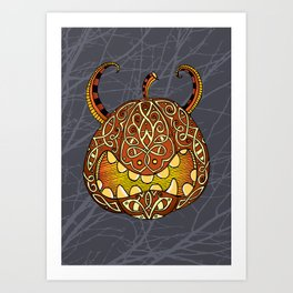 Celtic Halloween pumpkin Art Print