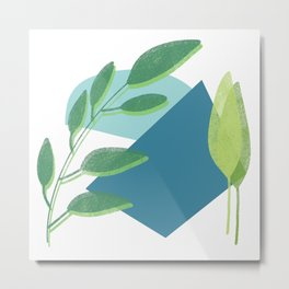 Abstract leaves print in blue and green/ modern art style leaves in blue and green Metal Print