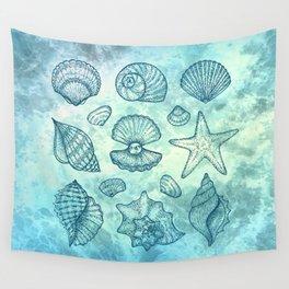 Blue Seashells Wall Tapestry