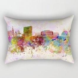 Geneva skyline in watercolor background Rectangular Pillow