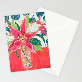 Pink and White Lily Bouquet with Matisse Wallpaper Stationery Cards