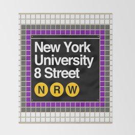 subway nyu sign Throw Blanket