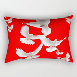 FLOCK OF WHITE PEACE DOVES ON RED COLOR Rectangular Pillow