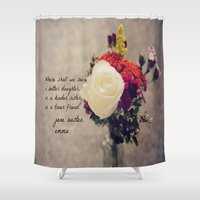 jane austen Shower Curtains featuring Jane Austen Daughter Emma by KimberosePhotography