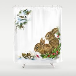 Winter in the forest - Animal Bunny Illustration Shower Curtain