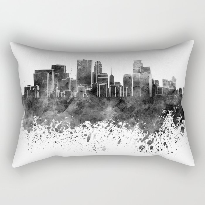 Minneapolis skyline in black watercolor on white background Rectangular Pillow