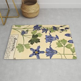 Maurice Verneuil - Ancolie - botanical poster Rug