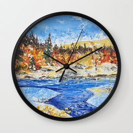 Landscape painting- The clear water River - by LiliFlore Wall Clock