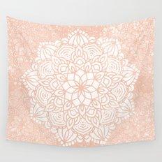 Seashell Mandala Coral Pink and White Wall Tapestry
