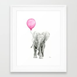 Baby Elephant with Pink Balloon Framed Art Print