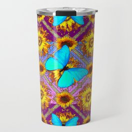 WESTERN STYLE TURQUOISE BUTTERFLIES FLORAL ART Travel Mug