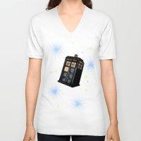 tardis V-neck T-shirts featuring TARDIS by Colunga-Art