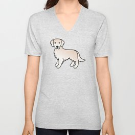English Cream Golden Retriever Breed Dog Cute Cartoon Illustration Unisex V-Neck