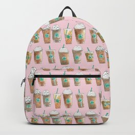 Coffee Cup Line Up in Pink Berry Backpack