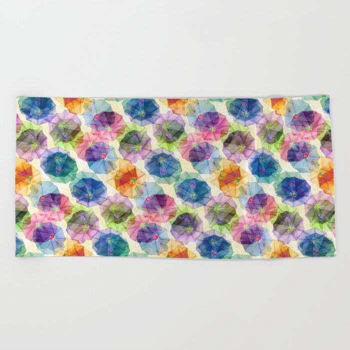 Funnel Flower Pattern Beach Towel