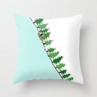 ski Throw Pillows featuring Ski Penguin by Jiwon Kim