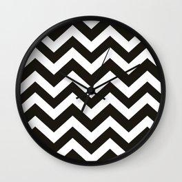 Black chocolate - black color - Zigzag Chevron Pattern Wall Clock