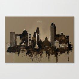 Mexico City Pencil Skyline Canvas Print