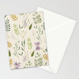 Beige floral pattern Stationery Cards