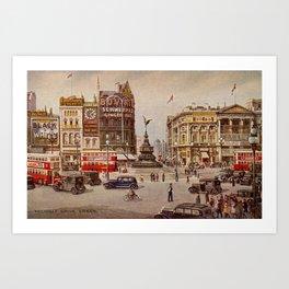 Vintage Piccadilly Circus London Art Print