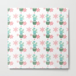 Cactus Potted plant Star flowers Metal Print