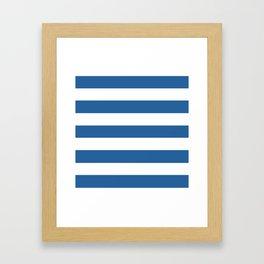 Lapis lazuli - solid color - white stripes pattern Framed Art Print