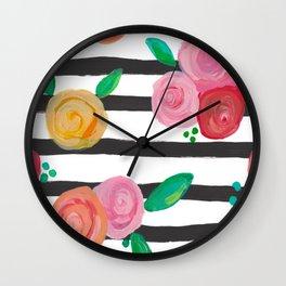 Black Stripes & Blooms Wall Clock