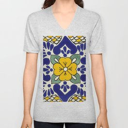 talavera mexican tile in yellow Unisex V-Neck