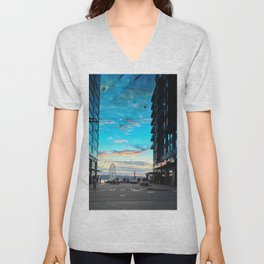 Seattle Summer Sunset Unisex V-Neck