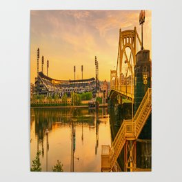 Pittsburgh Ballpark Riverview Sunrise Print Poster