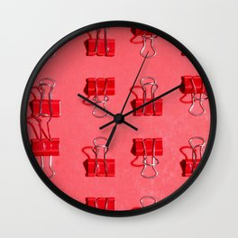 Red Binder Clips Wall Clock