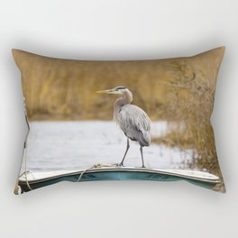 Great Blue Heron on Fishing Boat Rectangular Pillow