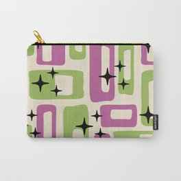 Retro Mid Century Modern Abstract Pattern 229 Purple and Olive Carry-All Pouch