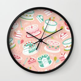 Retro Birthday Cakes Wall Clock