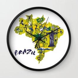 Brazil Map Christ Brazilian Culture Soccer Mural Wall Clock
