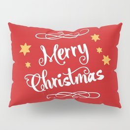 Merry Christmas - Typography, Calligraphy, Red, White, Stars Pillow Sham