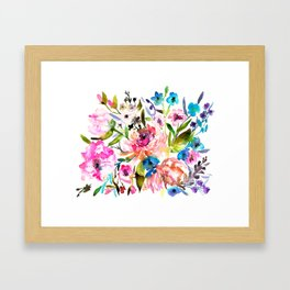 WATERCOLOUR PEONY AND ROSES Framed Art Print