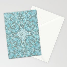 Soft Teal Blue & Grey hand drawn floral pattern Stationery Cards