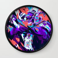 nfl Wall Clocks featuring DEZ BRYANT // NFL GRIDIRON ILLUSTRATION by mergedvisible