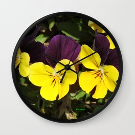 The Pansies at the Corner Wall Clock