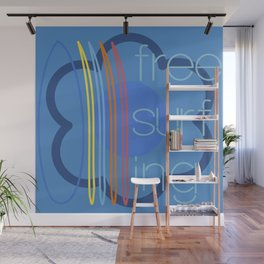 Free surfing blue Wall Mural