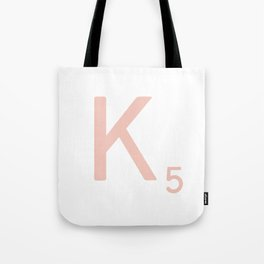 Pink Scrabble Letter K - Scrabble Tile Art and Accessories Tote Bag