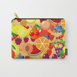 Flat fruits seamless pattern. Flat Illustrations of watermelon, banana, cherry, apple Carry-All Pouch