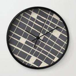 Grid in Black Wall Clock