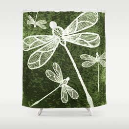 Magical white dragonflies on grunge green background Shower Curtain