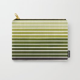 Watercolor Gouache Mid Century Modern Minimalist Colorful Olive Green Stripes Carry-All Pouch