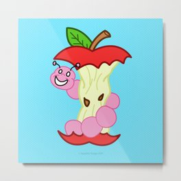 Sad Food - Happy Worm by Squibble Design Metal Print